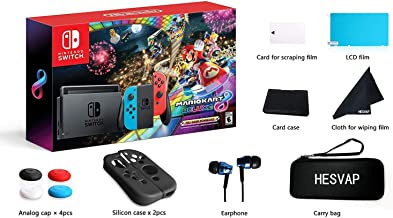 Nintendo Switch - Mario Kart 8 Deluxe Blue & Red Joy-Con Consoles W/ 69 Value 13 in 1 Supper Carrying Case (Earphone, LCD ...