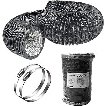 LOOTICH Fuerte Tubo Flexible de Aluminio PVC Ø100mm Longitud 2.5m para Extractor de Aire Climatización Secadora Conducto de Aire de Ventilación Sistemas con 2 Abrazaderas de Acero Negro: Amazon.es: Bricolaje y herramientas