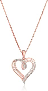 Amazon Collection Sterling Silver Diamond Double Heart Pendant Necklace (1/10 ct