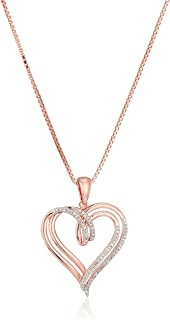 Sterling Silver Diamond Double Heart Pendant Necklace (1/10 cttw)