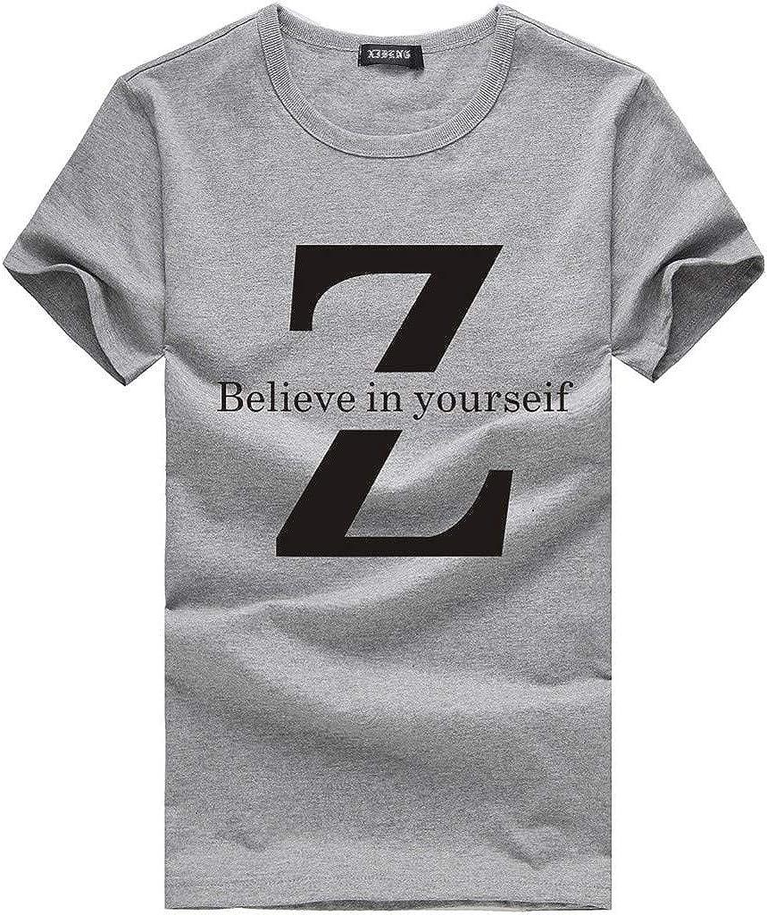 Gergeos Men's Adult Short Sleeve Novelty Graphic Tee Shirt Summer Basic T-Shirts