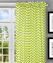"Ellis Curtain Reston Chevron Stripe Tailored Panel Curtain, 50"" x 63"", Lime"