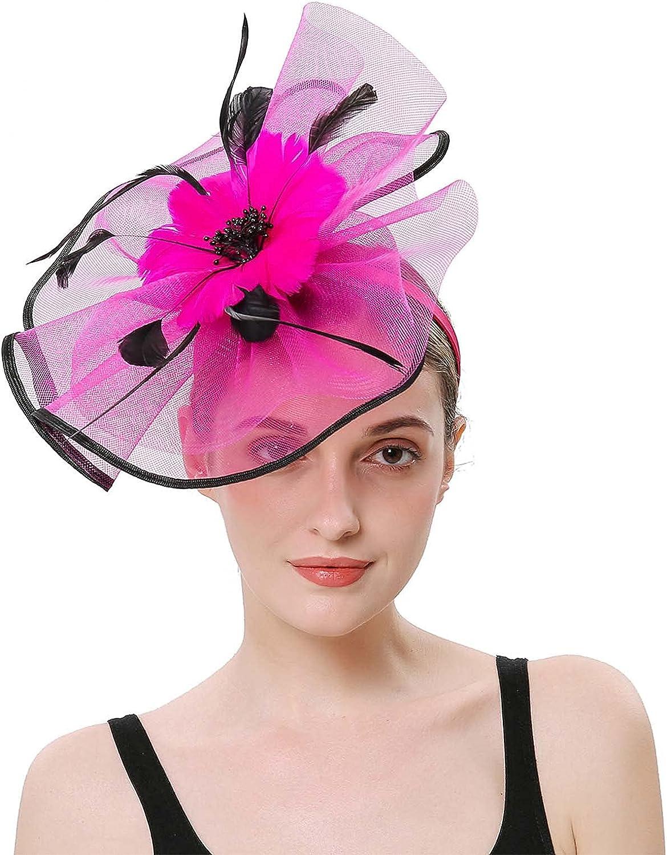 iTranyee Fascinators Hat for Women Tea Party Headband Flower Cocktail Headwear