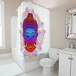 Ziwa88 Buddha Face Lotus Pattern Print Shower Curtain First-Class Rust Resistant Bathtub Curtain with Rings - for Dorm Room Decoration White 72x72inch