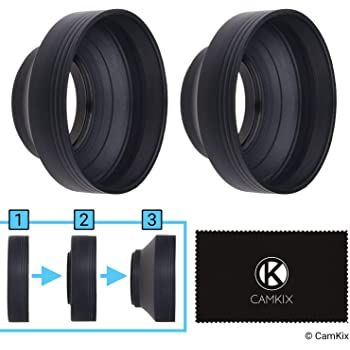 77mm Camera Lens Hood - Rubber - Set of 2 - Collapsible in 3 Steps - Sun Shade/Shield - Reduces Lens Flare and Glare - Blocks Excess Sunlight for Enhanced Photography and Video Footage
