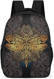 Ziwa88 Dragonfly Mandela Backpack Casual Waterproof Daypack - Dragonfly Mandela Pattern Satchel Camping Use for Boys Grey OneSize