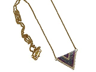 Collana perle Giappone blu iridescente lilla viola beige triangolo tessitura chevron catena in acciaio inox regali persona...