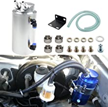 Dewhel Universal Cylindrical JDM 750ml Aluminum Engine Oil Catch Can Reservoir Tank (Silver)