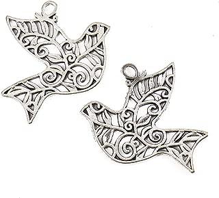 Pomeat 40 Pcs Silver Filigree Peace Bird Dove Olive Branch Charm Pendant for Bracelets Jewelry Making