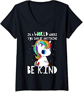 Womens In A World Where You Can Be Anything Be Kind Rainbow Unicorn V-Neck T-Shirt