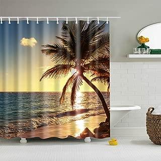 BROSHAN Standard Shower Curtain Hawaii, Coastal Beach Seaside Sunset Tropical Palm Tree Nature Landscape Bath Set, Summer Waterproof Fabric Bathroom Decor Set with Hooks,72x72