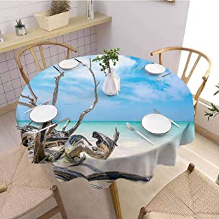 DILITECK Driftwood Decor Protective Round Tablecloth Seascape Theme Branches on Sandy Beach of Cuba and The Sky Image Picnic D60 Turquoise Sky Blue