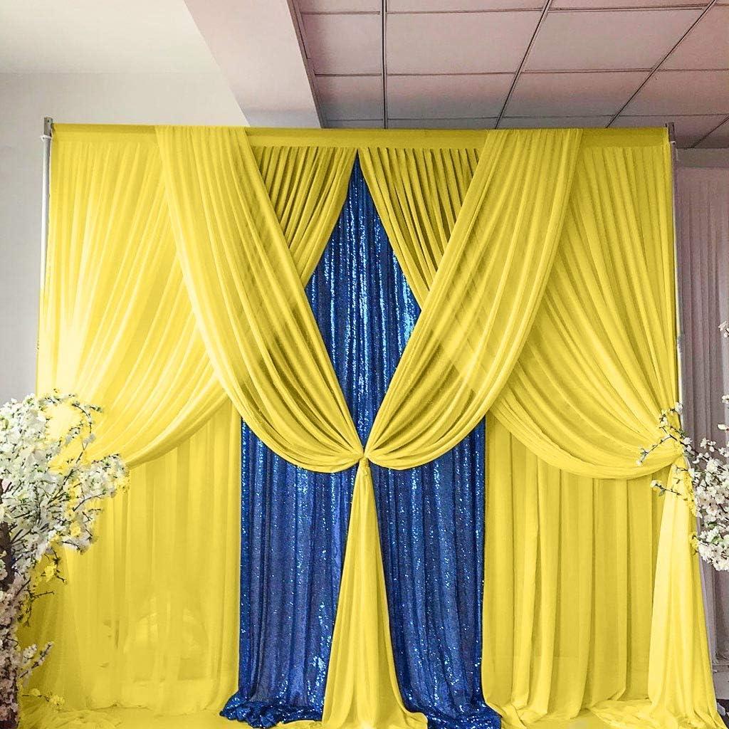 Yellow New Shipping Free Shipping Columbus Mall Chiffon Backdrop Curtain-2 Wedding Panels Chiffo 29