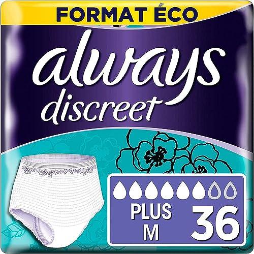 Always Discreet, Culottes pour incontinence / fuites urinaires, Taille M, 6 gouttes, Format éco x36