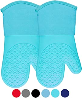 HOMWE Silicone Oven Mitts with Quilted Cotton Lining - Professional Heat Resistant Kitchen Pot Holders - 1 Pair (Turquoise)