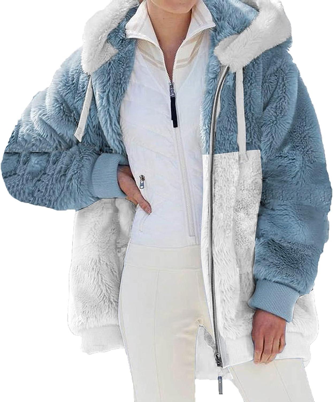 Peigen Women'S Warm Faux Coat Jacket Winter Fashion Color Block Hooded Fleece Jacket Casual Long Sleeve Outerwear Elegant
