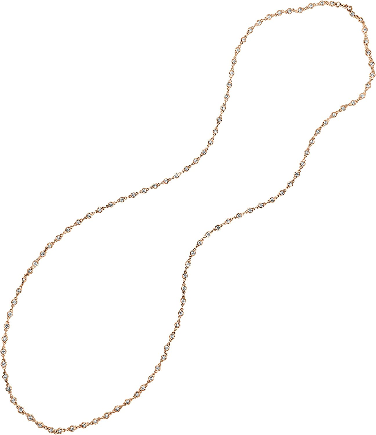 ARIA Jewelry- 3mm Gold Plated Long Necklace Chain with CZ for Women- 36