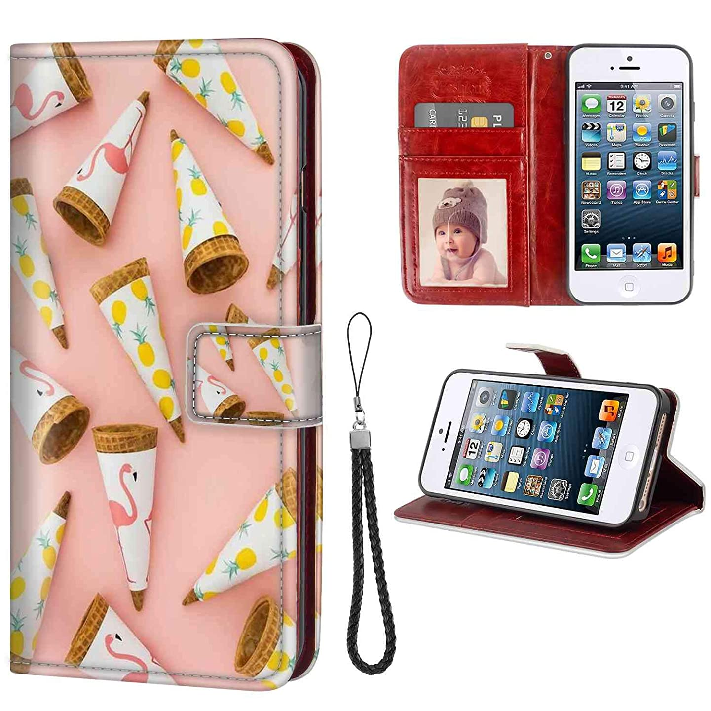 Phone Wallet Case for Apple iPhone 5 (2012), iPhone SE (2016), iPhone 5S (2013) 5.5in Sweet Tube Protective fudaheqcrmhr