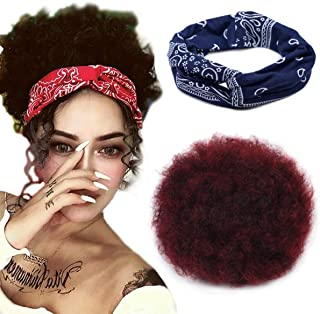 8Inch Big Afro Hair Puff Drawstring Ponytail Curly Hair Extension Big Afro Bun Wig Ponytail Clip on Hair Extensions for Bl...