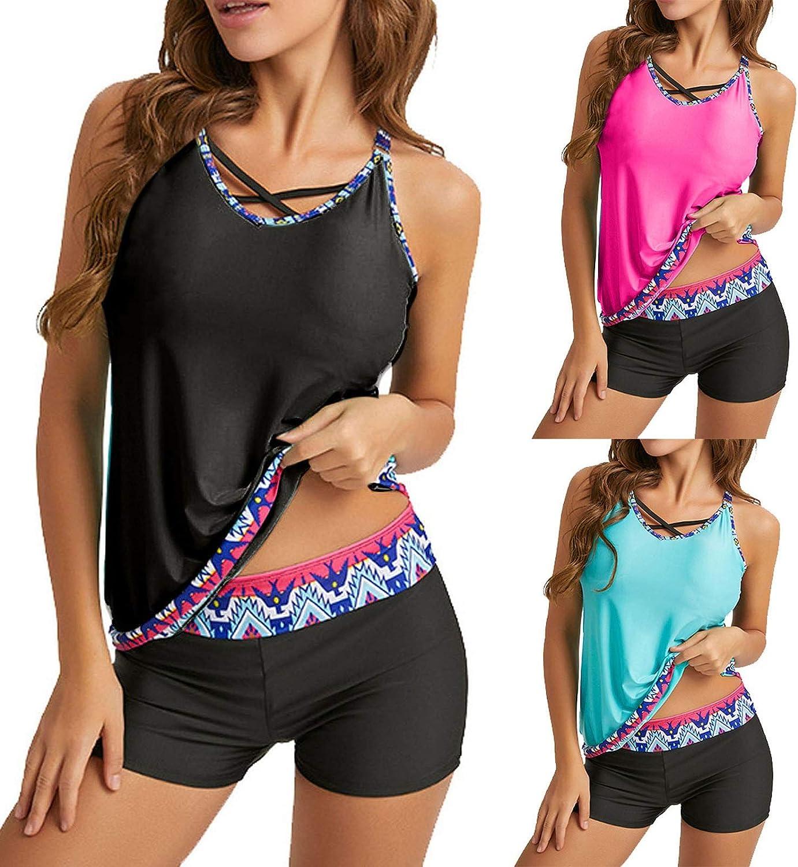 GoodLock Swimsuits for Women, Plus Size Print Strappy Back Tankini Set Two Piece Swimsuits Swim Dress D-Black