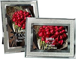 Amazon Brand - Umi Marcos de Fotos de 15x20 de Vidrio para la Mesa, Conjunto de Portafotos de Cristal, con el Borde Brilla...