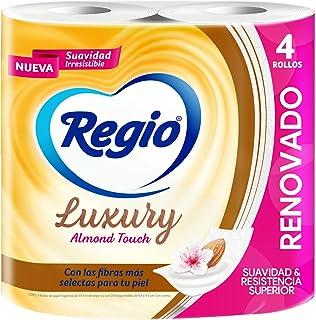 Regio Papel Higiénico Luxury Almond Touch; ligero Aroma a Almendras y Hojas Dobles; marca Regio; 4 Rollos, color, 4 count,...