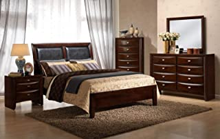 Giantex Modern 5 Piece Bedroom Set Bed Furniture Dresser Mirror Set Drawer Chest End Table Night Stand (Classic Design, King Size 5 Piece Set)