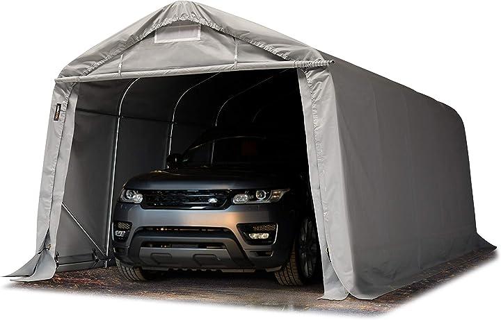 Tenda garage 3,3 x 6,0m tenda per il bestiame tenda capannone in pvc e acciaio grigio B01634U7TA