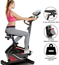 Magnetic Upright Exercise Bike Stationary Indoor Cycling Bike with Tablet Holder for Home Cardio Workout 300 LBS Capacity