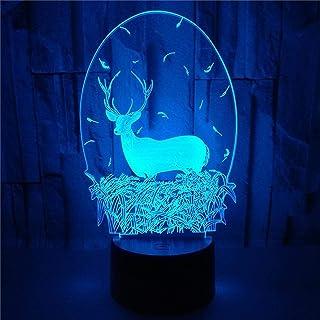 LBJZD luz de noche Colorido Ciervo De Navidad 3D Lámpara Ilusión Luz De Noche Led Lámpara De Mesa Usb Para Niños Bebé Regalo Para Niños Dormitorio Animal Sin Mando A Distancia