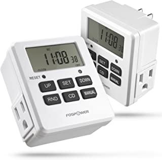 FosPower Timers for Electrical Outlets [ETL Listed] 125V/15A LCD Digital Outlet Timer, 7 Day Programmable Light Timer with 2 AC Plug Capacity for Lights, Lamps, Electrical Outlets - 2 Pack