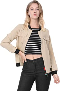 Women's Zip Up Pocket Lightweight Classic Bomber Jacket