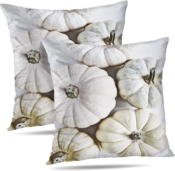 Soopat Decorative Throw Pillow Cover Square Cushion 16 X 16 Inch Set Of 2 White Pumpkins Fall Autumn Minimal Flat Christmas Beauty Home Decor Pillowcase