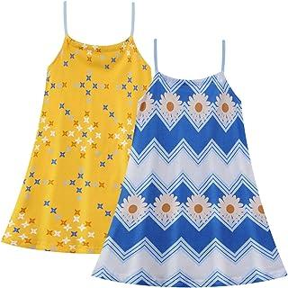 HILEELANG Toddler Girl Summer Beach Tank Dress Cotton Casual Reversible Shoulder Tie Cool Sundress