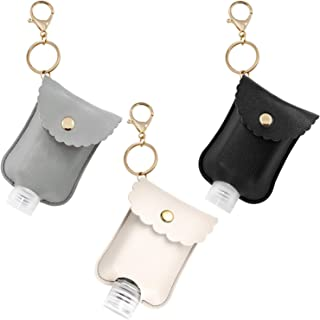 3 PCS Hand Sanitizer Leather Holder Keychain, Empty Travel Size Bottle Holder Refillable Containers for Soap, Lotion, and ...