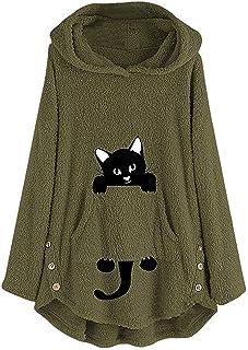 Supertong Hoodie Damen Kapuzenpullover Süß Katze Print