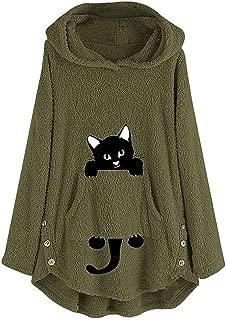 Women Plush Hoodie Cat Embroidery Plus Size Warm Coat Pullover Sweatshirt Blouse Outwear DongDong