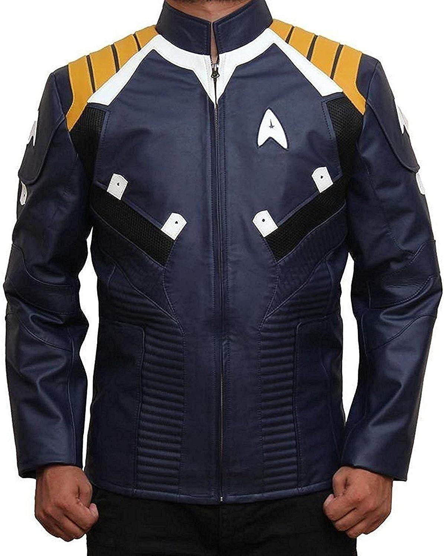 Mens Pine Star Trek Beyond James Kirk Costume bluee Leather Jacket