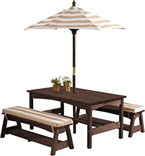 KidKraft Outdoor Table & Bench Set with Cushions & Umbrella - Oatmeal & White Stripes, Natural