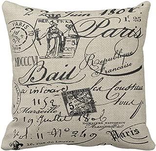 Emvency Throw Pillow Cover Black Housewares French Script Paris Decorative Linen Pillow Case Home Decor Square 20 x 20 Inch Pillowcase