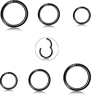 FIBO STEEL 8 Pcs 6-12mm Stainless Steel 16g Cartilage Hoop Earrings Women Men Nose Ring Helix Septum Couch Daith Lip Tragu...