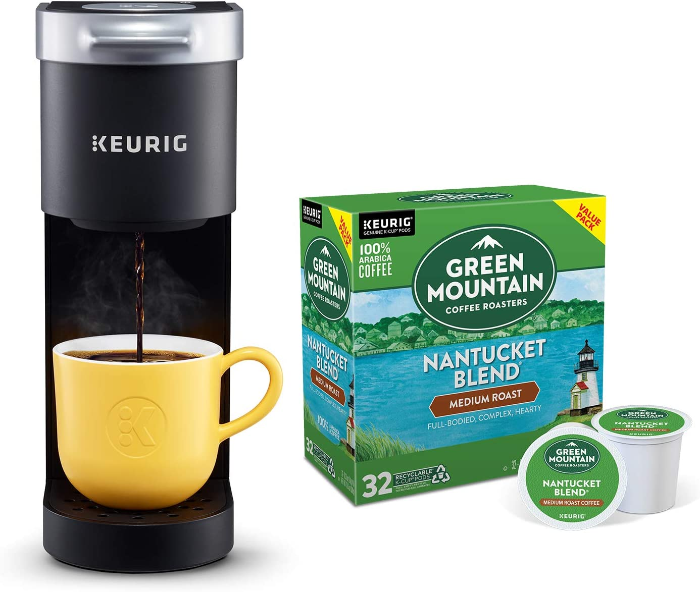 Keurig K-Mini Single Serve Coffee Maker with Green Mountain Coffee Roasters Nantucket Blend, Medium Roast, 32 ct K-Cup Coffee Pods