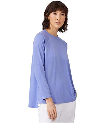 Eileen Fisher Crew Neck Raglan Sleeve Shirt (Hydrangea) Women