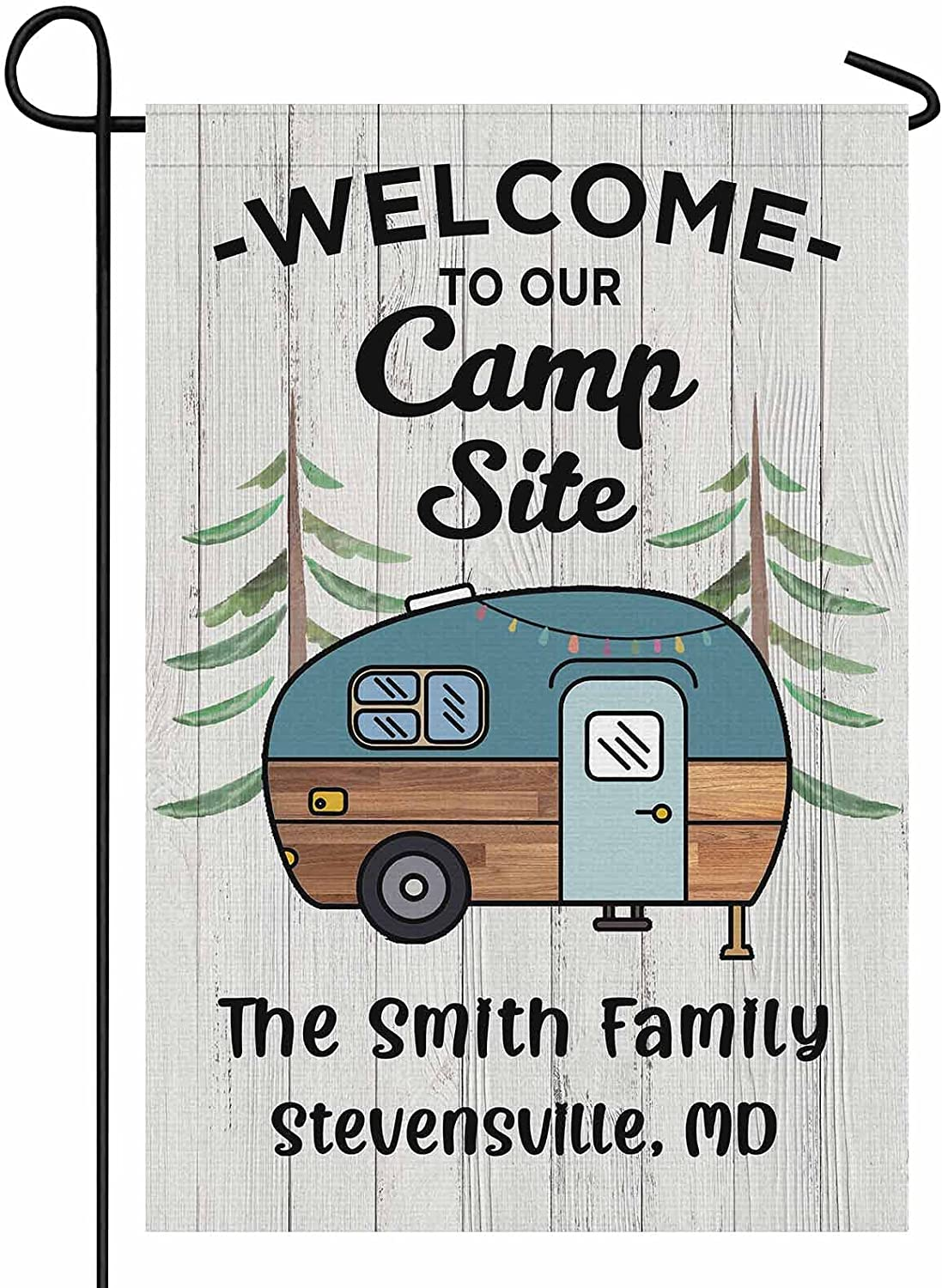 FunStudio Personalized Camping Garden Flag Welcome to Our Campsite Rv Flag for Outdoor Yard House Banner Home Lawn Welcome Decoration 12.5