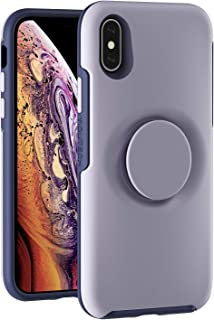 YIQUTECH 2 in 1 Case for iPhone Xs and iPhone X Case,Hybrid Design Made of Rigid Back(PC) and Flexible Bumper(TPU) (Lavender+Swappable Cap)