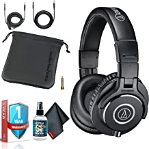 Audio-Technica ATH-M40x Over-Ear Professional Studio Monitor Headphones with 6ave Cleaning Kit, Carrying Case and 1-Year Extended Warranty