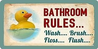 StickerPirate 605HS Rubber Duck Ducky Bathroom Rules Wash Brush Floss Flush 5