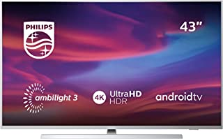 Televisor Philips Ambilight 43PUS7304/12 Smart TV de 108 cm (43 pulgadas) con 4K UHD, LED TV, HDR 10+, Android TV, Google Assistant, Dolby Atmos y compatibilidad con Alexa, color plata claro