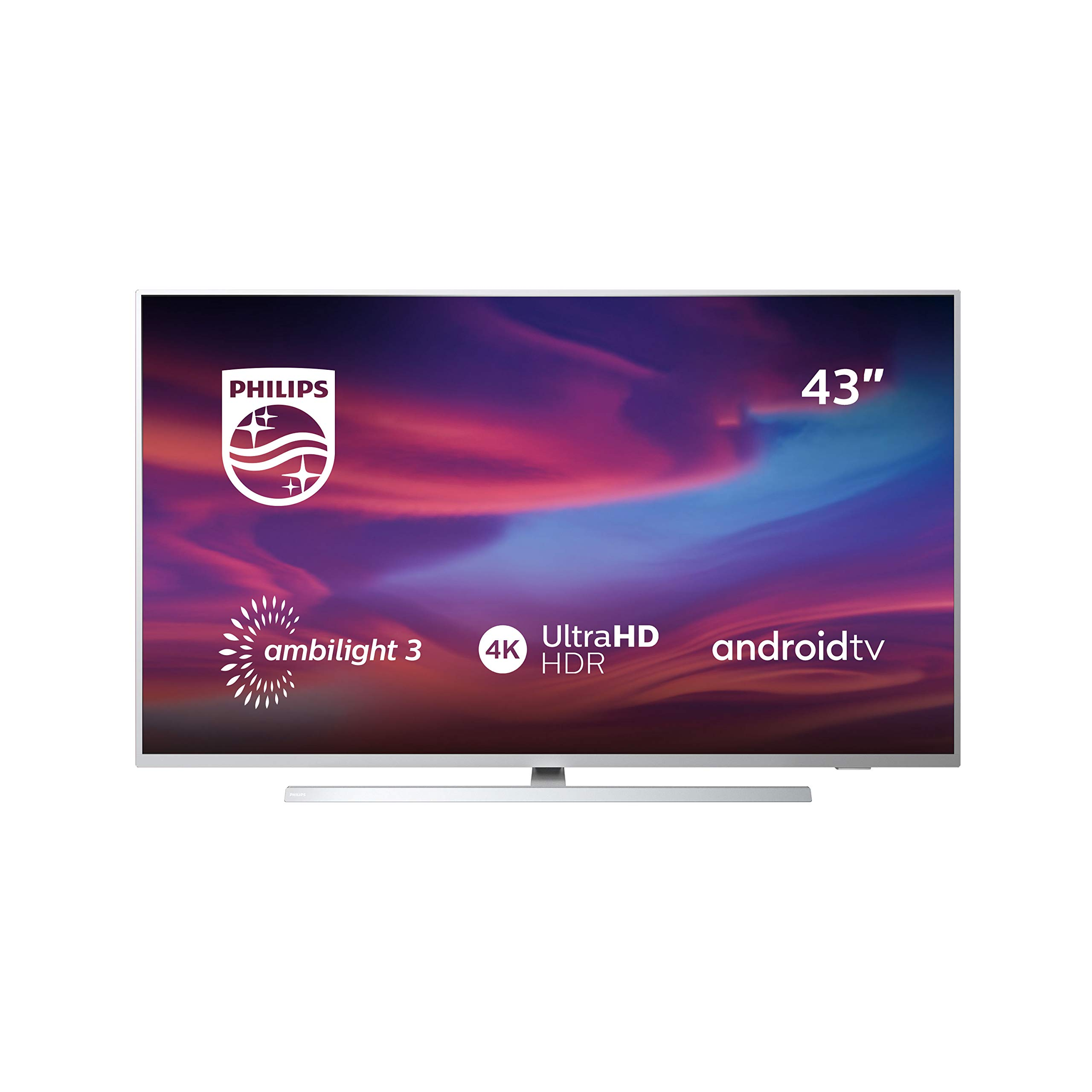 Televisor Philips Ambilight 43PUS7304/12 Smart TV de 108 cm (43 pulgadas) con 4K UHD, LED TV, HDR 10+, Android TV, Google Assistant, Dolby Atmos y compatibilidad con Alexa, color plata claro: Philips: