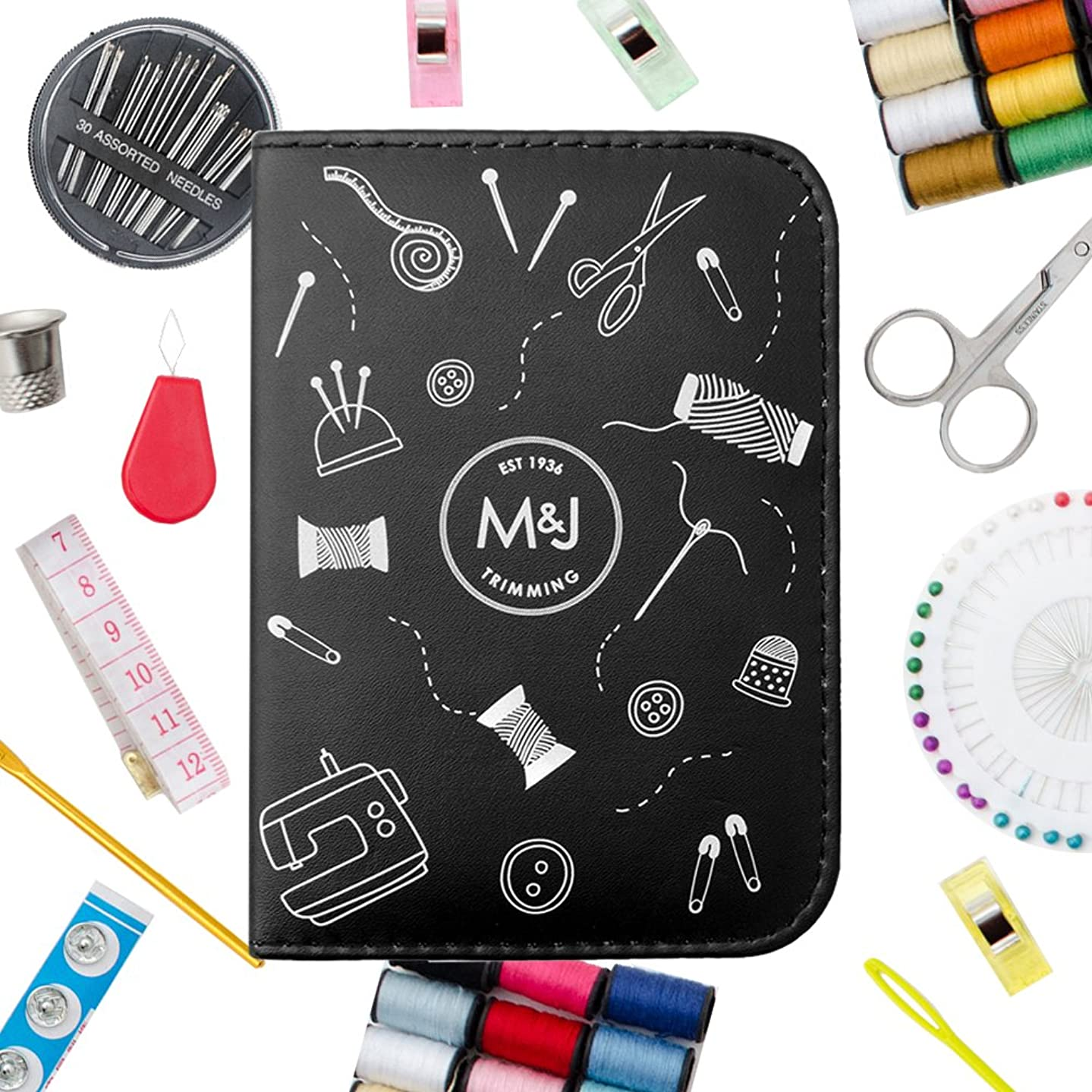 M&J Compact Sewing KIT, Lots of Premium Sewing Supplies, Mini Sewing Kits - Includes: Thread, Sewing Pins, etc. Great for Adults, Kids, Travel, Beginners, Professional, Emergency